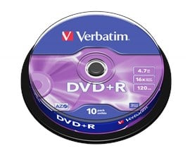 Verbatim 4.7GB DVD+R Discs, 16x, 10 Pack Spindle