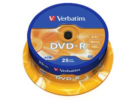 Verbatim 4.7GB DVD-R Discs, 16x, 25 Pack Spindle