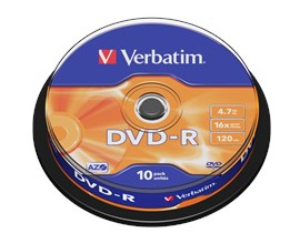 Verbatim 4.7GB DVD-R Discs, 16x, 10 Pack Spindle
