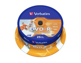 Verbatim 4.7GB DVD-R Discs, 16x, Wide Inkjet Printable, 25 Pack Spindle
