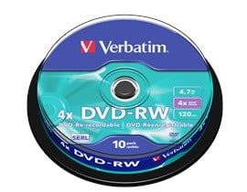 Verbatim 4.7GB DVD-RW Discs, 4x, 10 Pack Spindle