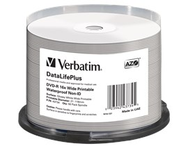 Verbatim 4.7GB DVD-R Discs, 16x, Wide Printable Waterproof, 50 Pack Spindle
