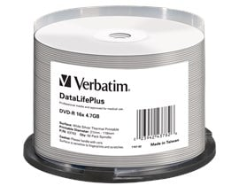 Verbatim 4.7GB DVD-R DataLifePlus Discs, 16x, Wide Silver Thermal Printable, 50 Pack Spindle
