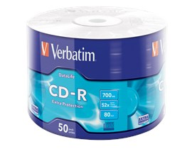 Verbatim 700MB CD-R Extra Protection Discs, 52x, 50 Pack Wrap Spindle