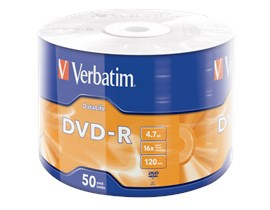Verbatim 4.7GB DVD-R Discs, 16x, 50 Pack Wrap Spindle
