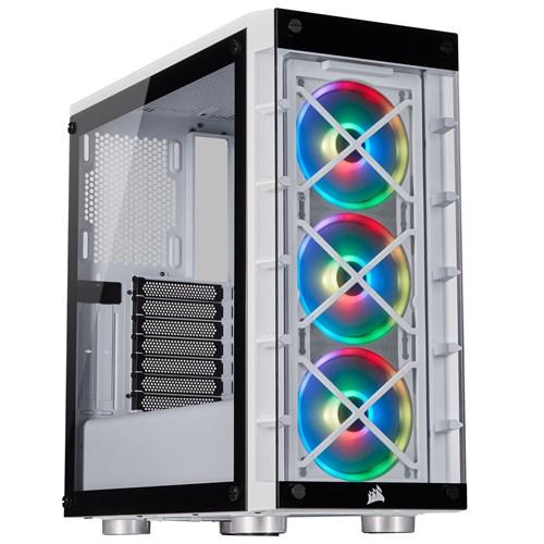 Corsair iCUE 465X RGB Mid Tower Gaming Case - White USB 3 0