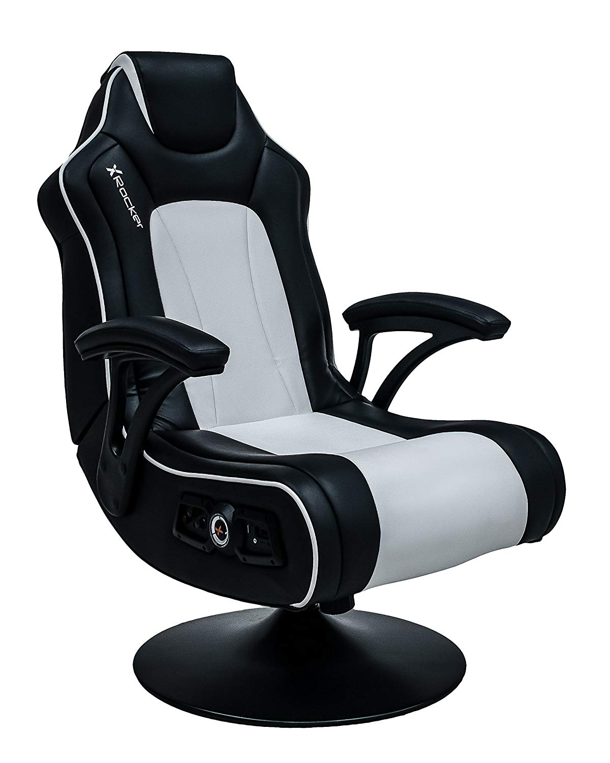 X Rocker Torque 2.1 Gaming Chair (White/Black Upholstery And Black Frame)  With
