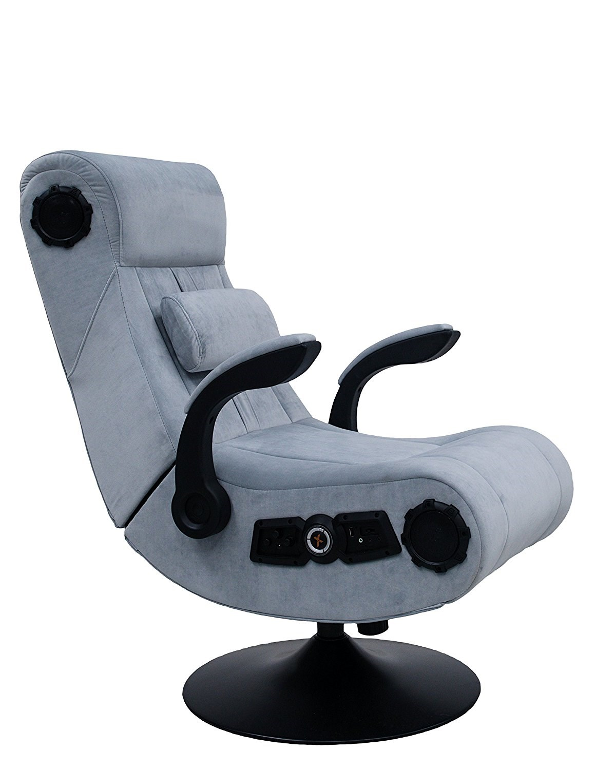 X Rocker Deluxe 4 1 High Back Fabric Gaming Chair Grey Upholstery And Black Frame With Bluetooth Speakers