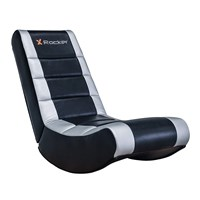 X Rocker Video High Back Faux Leather Floor Rocker (Silver/Black Upholstery)