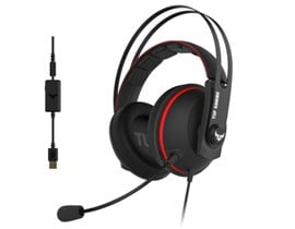 Asus TUF Gaming H7 7.1 Gaming Headset 53mm Driver 3.5mm Jack (USB Adapter) Boom Mic Virtual Surround Stainless-Steel Headband