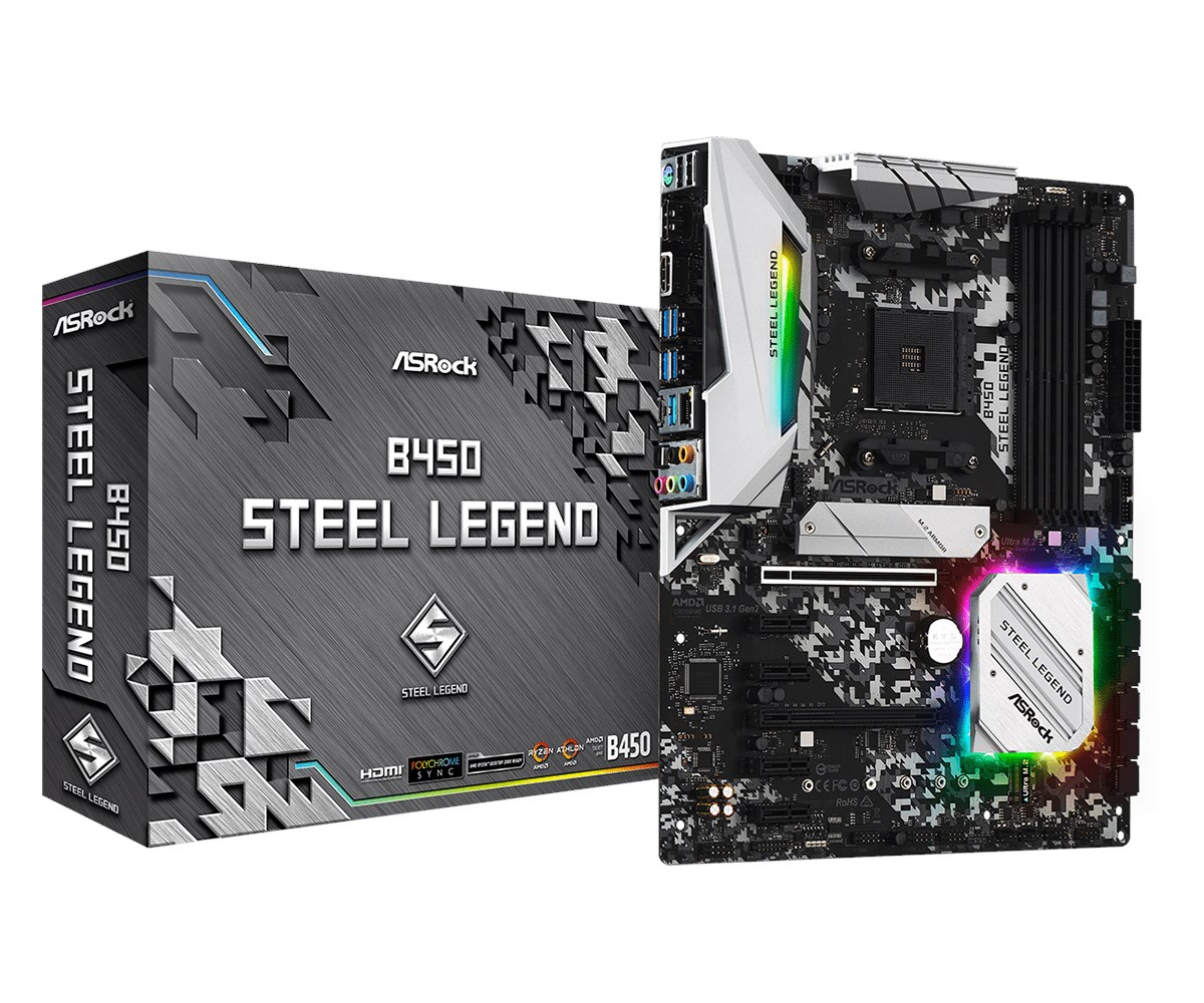 ASRock B450 Steel Legend ATX Motherboard for AMD AM4 CPUs