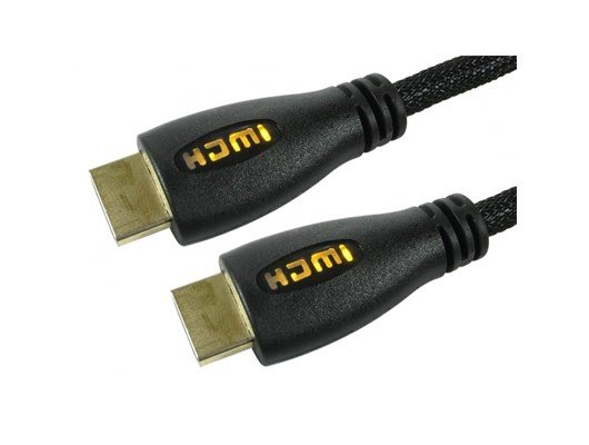 Cables Direct 1m HDMI 1.4 High Speed with Ethernet Cable with Yellow LED Illuminated Connectors