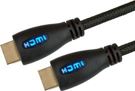 5m HDMI Cable with Ethernet - Braided Cable / Gold Connectors / Blue LED