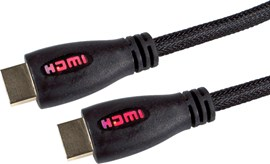3m HDMI Cable with Ethernet / Braided Cable / Gold Connectors / Red LED