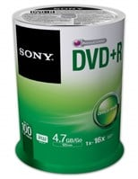 Sony DVD+R 16x Spindle 100 Pcs
