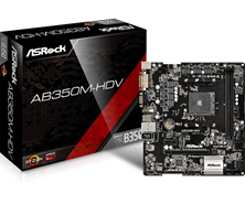 ASRock AB350M-HDV AMD Socket AM4 Motherboard