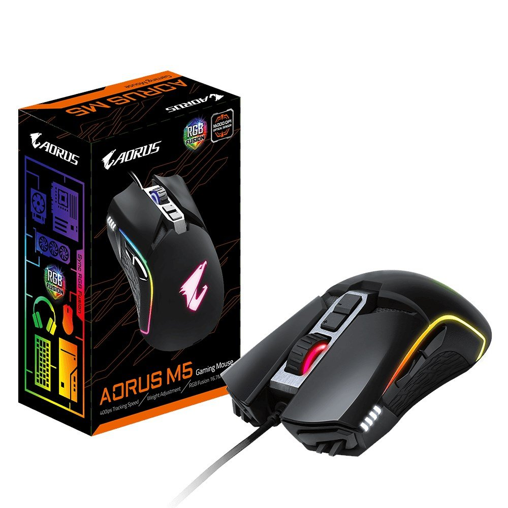 Gigabyte AORUS M5 USB Gaming Mouse with RGB Fusion Support - AORUS M5