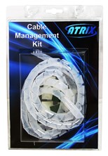Atrix PC Cable Management/ Tidy Kit (1m Wrap + 10 Adhesive Clamps)