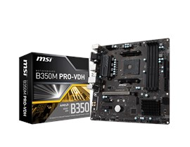 MSI B350M PRO-VDH Motherboard AMD RYZEN 7th Gen A-series AM4 AMD B350 M-ATX Realtek Gigabit LAN DDR4 *Open Box*