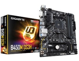 Gigabyte B450M DS3H AMD AM4 B450 Motherboard (MicroATX) RAID Gigabit LAN (Integrated Graphics) *Open Box*