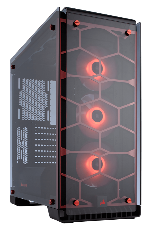 Corsair Crystal Series 570X Midi Tower Case - Red