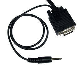 (15m) SVGA Male to Male Cable with 3.5mm Audio (Black)