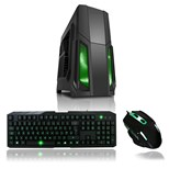 CiT Storm Black ATX Case with 1 x 120mm Green LED Front Fan and Keyboard & Mouse Set
