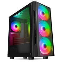 CiT Flash Mid Tower Gaming Case - Black USB 3.0