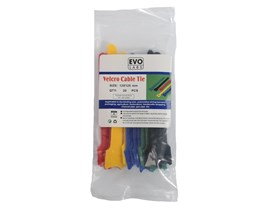 Evo Labs 20 pack of 125 x 12mm Multicolour Retail Package Packaged Hook and Loop Cable Ties