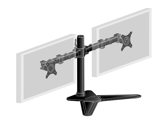 iiyama Comfortable Dual Desktop Stand (Black) for Dual Monitors