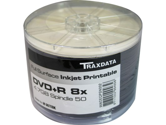 Traxdata DVD-R Inkjet Printable, 8x, 50 Pack Spindle