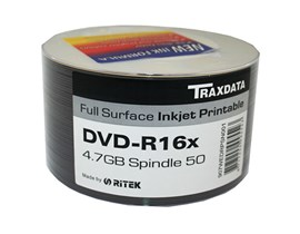 Traxdata DVD-R Inkjet Printable, 16x, 50 Pack Spindle