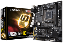 Gigabyte Ultra-Durable GA-AB350M-HD3 AMD AM4 B350 Motherboard (mATX) RAID Gigabit LAN (Integrated Graphics) *Open Box*