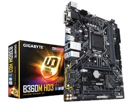 Gigabyte B360M HD3 Intel 1151 B360 Motherboard (MicroATX) Gigabit LAN (Intel HD Graphics) *Open Box*