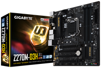 Gigabyte Ultra-Durable GA-Z270M-D3H Motherboard 6th/7th Gen Intel i3/i5/i7/Pentium/Celeron 1151 Socket Realtek GbE LAN DDR4 (Integrated Graphics)
