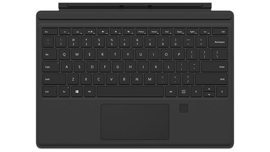 Microsoft Surface Pro Type Cover with Fingerprint ID (UK) in Black for Surface Pro (Mid 2017), Pro 3, Pro 4