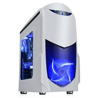 Game Max Nero White mATX Case with Front 12cm Blue LED Fan