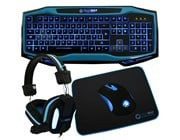 Game Max Raptor Keyboard Mouse Headset Mouse Mat Kit (Blue)