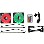 Game Max Windforce 2 x 120mm LED RGB Cooling Fans with 2 x 200mm LED RGB Strips and Remote