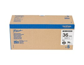 Brother HGE261V5 (36mm x 8m) Black On White Labelling Tape (Pack of 5)