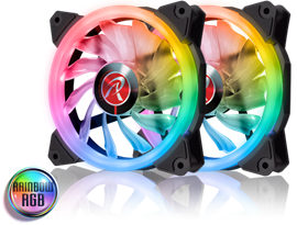 Raijintek IRIS 12 Rainbow RGB (120mm) PWM Fans with Controller (Twin Pack)