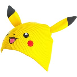 POKEMON Pikachu Face & Ears Cuffless Beanie - One Size (Yellow)