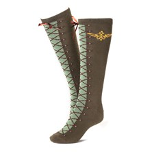 NINTENDO Legend of Zelda Skyward Sword Women's Link's Boots with Gold Royal Crest Knee High Socks (Green)