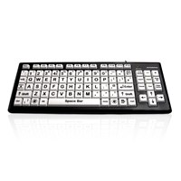 Accuratus Monster2 High Contrast Upper Case USB Learning Keyboard with Extra Large White Keys and  2 Port USB 2.0 Hub
