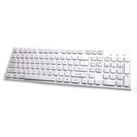 Accuratus 301 USB Compact Size Super Slim Keyboard with Square Special Keys and Pure White Keys & Chassis
