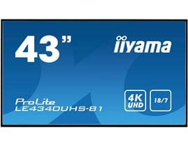 Iiyama ProLite LE4340UHS (43 inch) 4K UHD VA LED Backlit Digital Signage Display with Speakers, HDMI, VGA and DVI Inputs, Excludes Stand (Black)