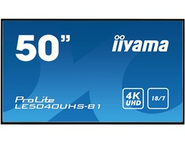 iiyama ProLite LE5040UHS-B1 50 inch Large Format Display - VA Panel, 4K UHD 3840 x 2160 Resolution, 2x HDMI, DVI, VGA, USB Hub, Speakers