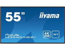 Iiyama ProLite LE5540UHS (55 inch) 4K UHD VA LED Backlit Digital Signage Display with Speakers, HDMI, VGA and DVI Inputs, Excludes Stand (Black)