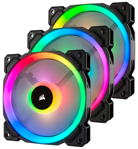 Corsair LL120 Dual Light Loop PWM Fan (120mm) RGB LED (3 Fan Pack)