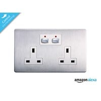 Energenie MiHome Smar Double Wall Socket (Brushed Steel)